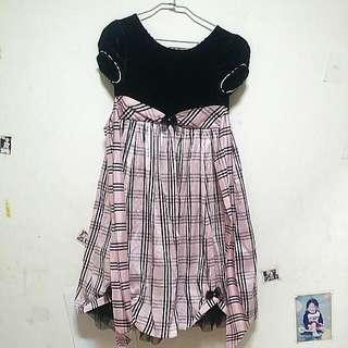 華麗甜美女幼童/女孩格紋蓬蓬袖禮服