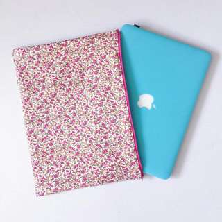Handmade Customizable Pink Floral Laptop Sleeve