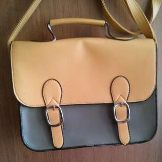 Yellow Grey Casual Sling Bag