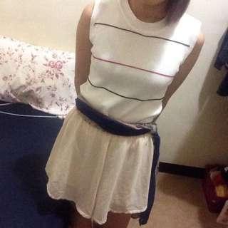 雪紡米色褲裙