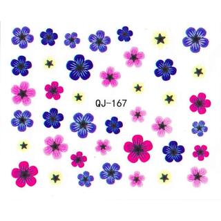 《Dear34》DIY黑白指甲貼紙QJ-167仿真花藍粉