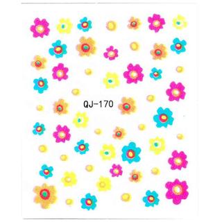 《Dear34》DIY黑白指甲貼紙QJ-170仿真花黃藍紅