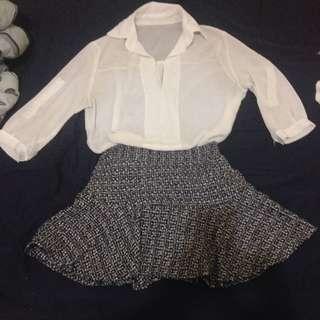 針織黑白人魚裙