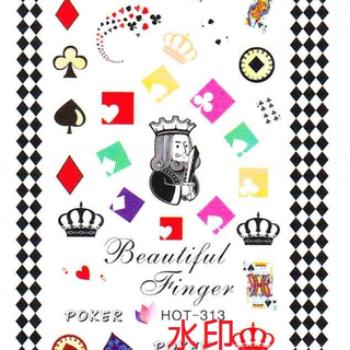 《Dear34》水轉印指甲貼紙(5.5×13CM)HOT-313撲克poker