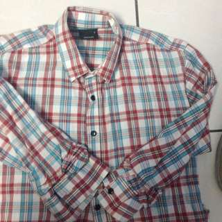 Blue Red Checkers - Semi Long Sleeve (For Him)