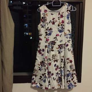 White Floral Dress For Work Or Casual