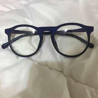 全新深藍色圓形眼鏡