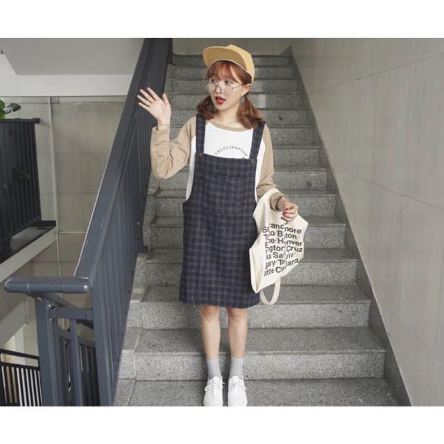 ✨韓國雙重格子大口袋直筒顯瘦連身裙