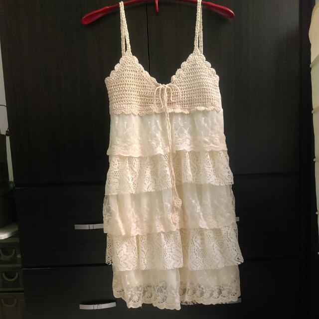《降》(全新)日系細肩帶蕾絲洋裝/編織洋裝