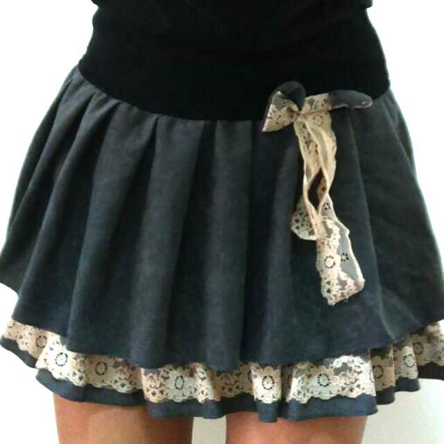 降↓↓↓↓蕾絲細摺裙