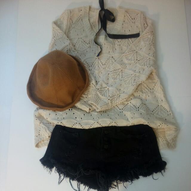 韓版氣質綁帶毛衣(米白)