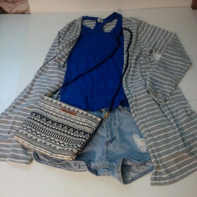 個性線條薄外套+寶藍色背心