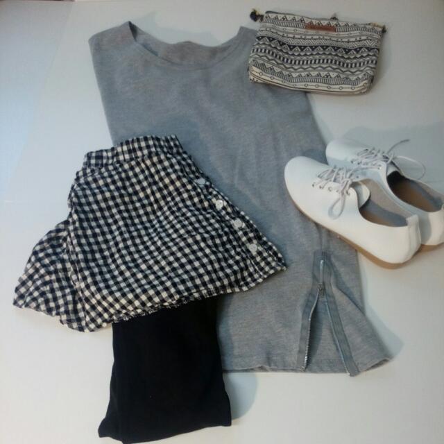 個性街頭風格內搭褲+韓版灰色拉鏈寬鬆上衣