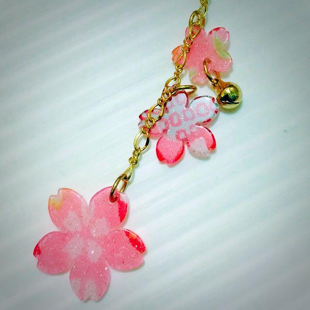 日本京都帶回櫻花造型手機吊飾