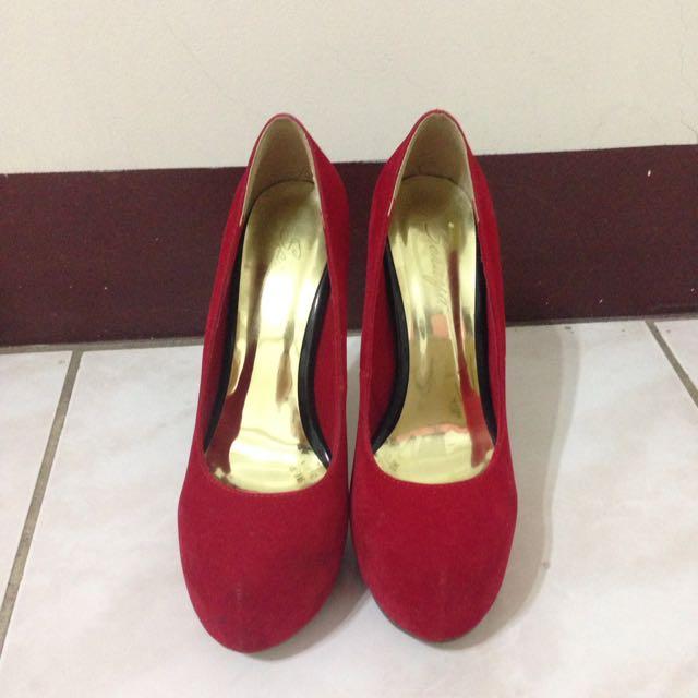 高跟鞋 紅色 防水台 細跟 聖誕節
