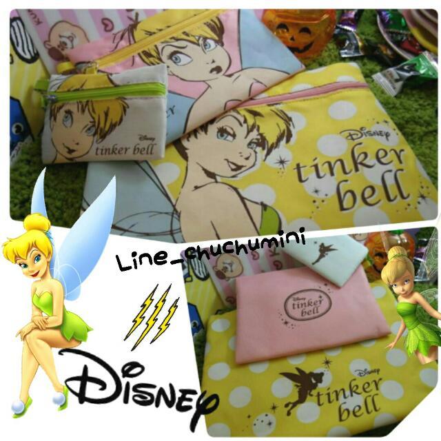 迪士尼大中小三入袋萬用袋化妝包收納包零錢包瑪麗貓愛麗絲Alice奇妙仙子小精靈