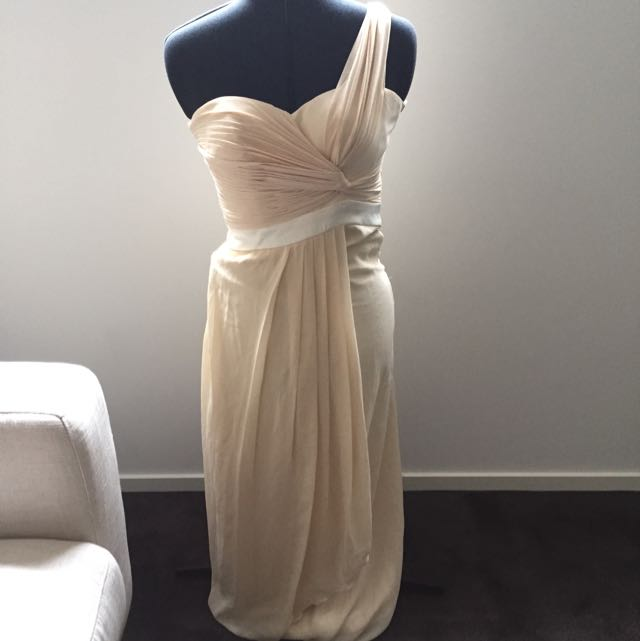 Beige One Shoulder Maxi Size Small
