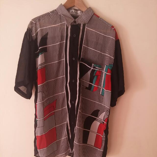 Black And Graphical Sheer Short Sleeve Button Up