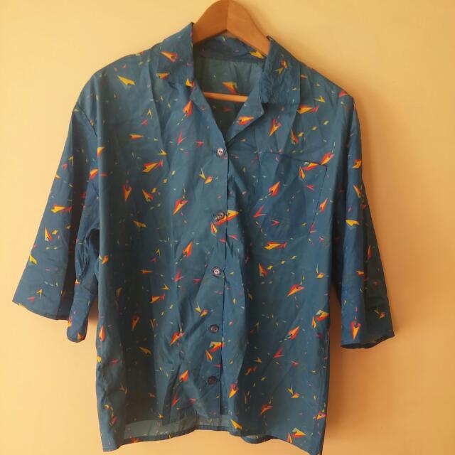 Blue With Pattern Parachute Short Sleeve Shirt