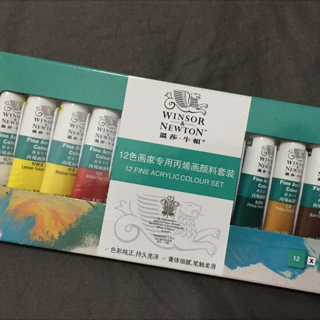 Brand New Winsor And Newton Acrylic Paint 12colours *Free Brand New Brushes X4*
