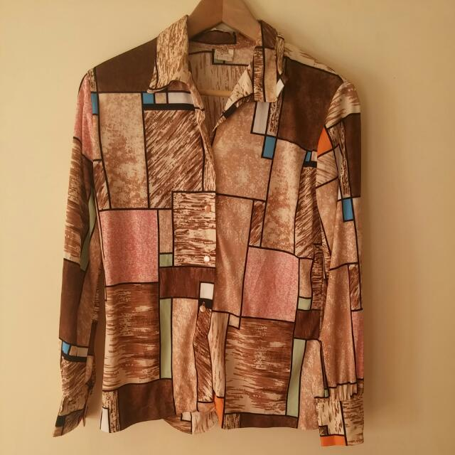 Brown 70s Pattern Button Up Blouse