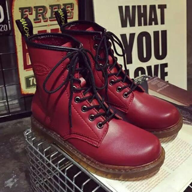 🎀Fofu鞋 馬汀靴 紅