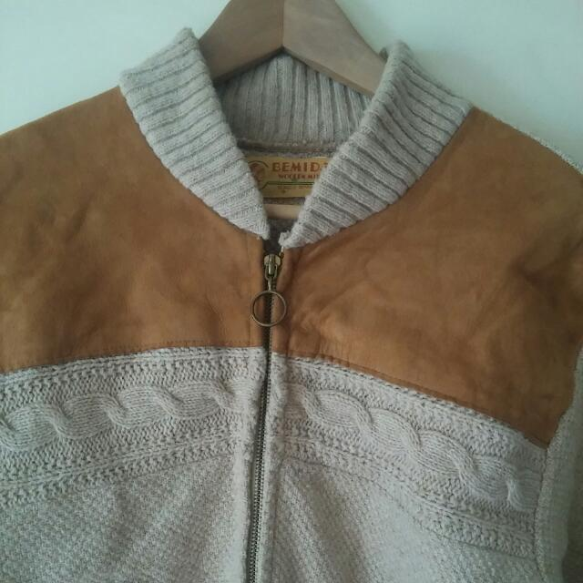 Leather And Wool Zip Up Vintage Cardigan