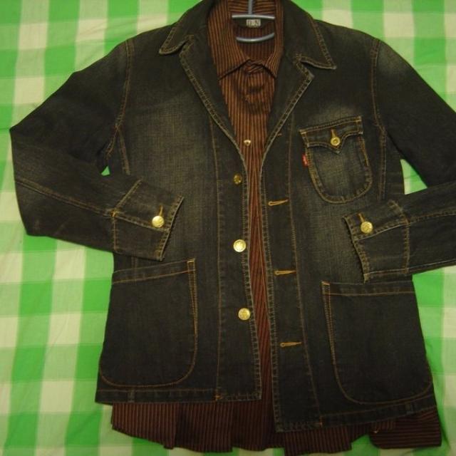 Levi's深藍復古刷色牛仔西裝外套--M號