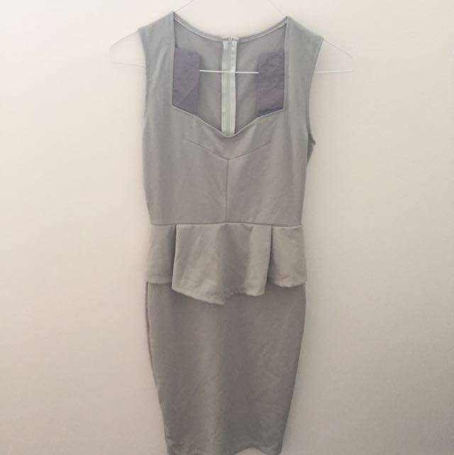 Light Grey Peplum Dress SH