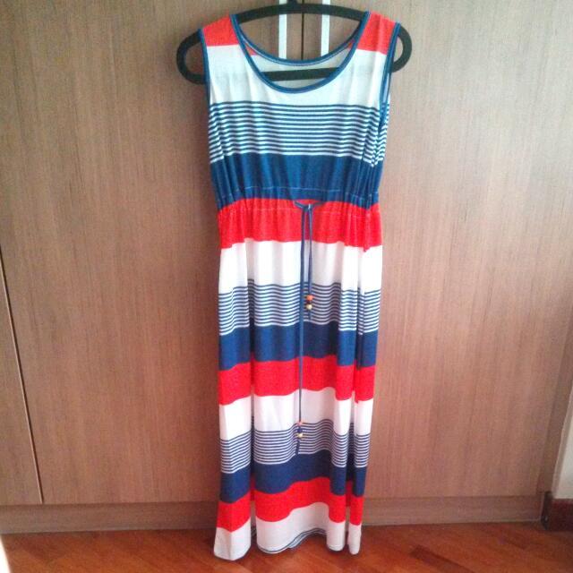 Long Stripes Red White Blue Dress