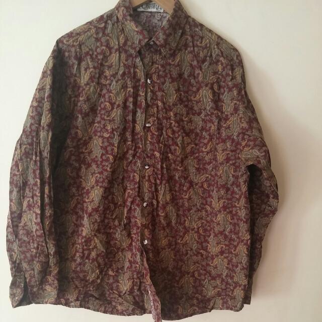 Maroon Paisley Button Up Shirt