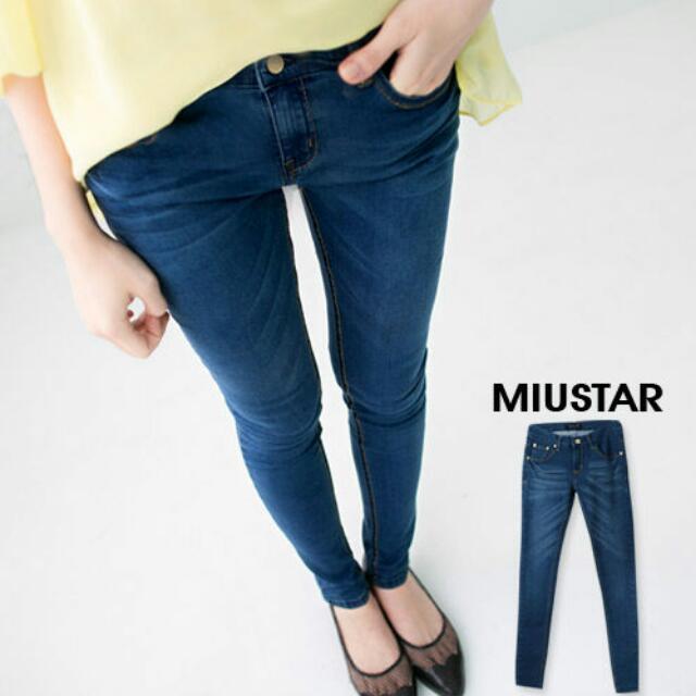 miustar 藍調質感金邊線單寧長褲
