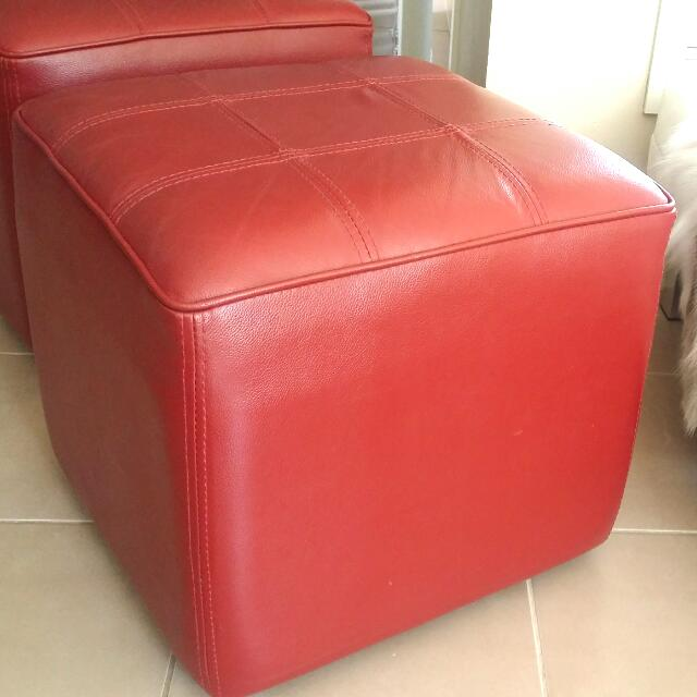 Modern Red Leather Ottoman x2