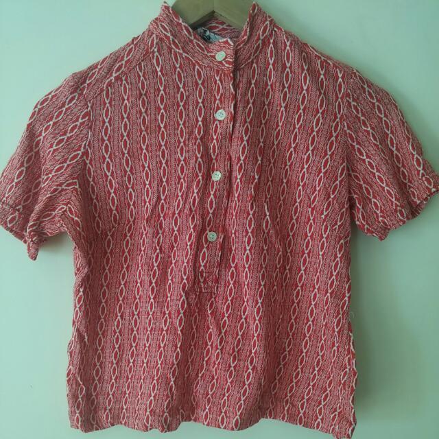 Red Vintage Knit Crop Button Up Shirt