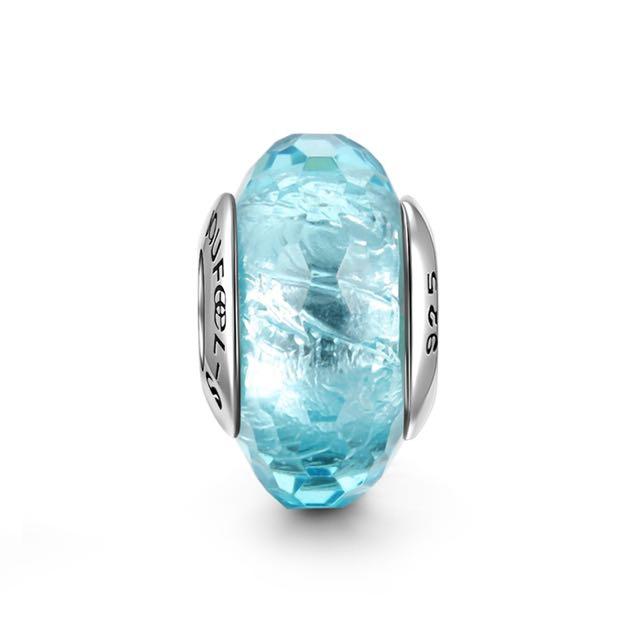 郵寄免運☆正品現貨☆SOUFEEL 索菲爾 925純銀串珠 淺藍冰晶 琉璃 Pandora串珠吊飾適用