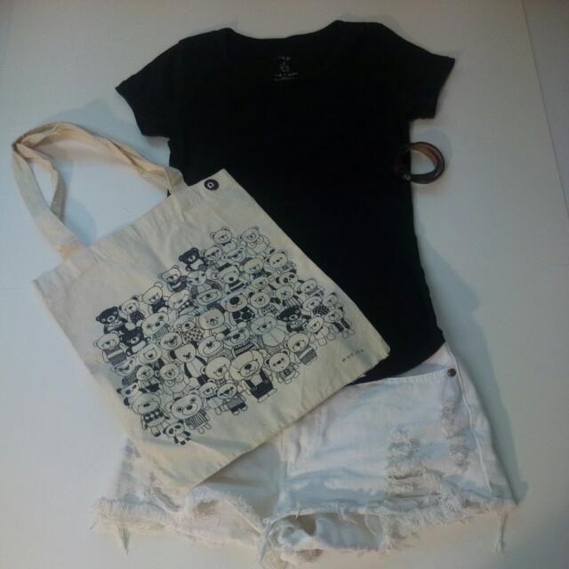 韓版個性素色T+小熊帆布包