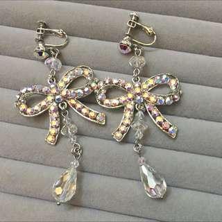 再降價 新娘新秘飾品出清 夾式鑽類蝴蝶結耳環