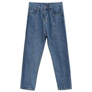 Supercolor-中線剪裁牛仔丹寧褲