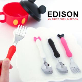 【特價$208/現貨】日本正品 EDISON 迪士尼 米奇/米妮系列 湯叉組/餐具