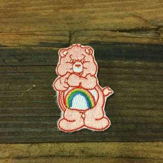 徽章貼布彩虹粉紅熊