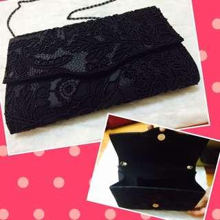 華麗珠花黑色晚宴包肩背包