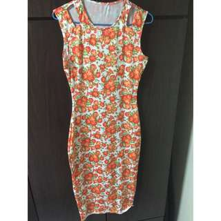 Floral Red Bodycon Dress