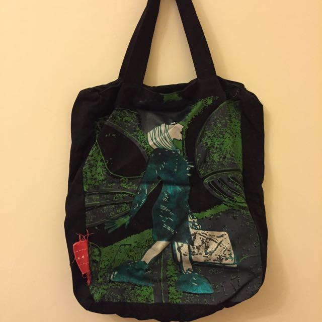 黑色帆布側背包/購物袋
