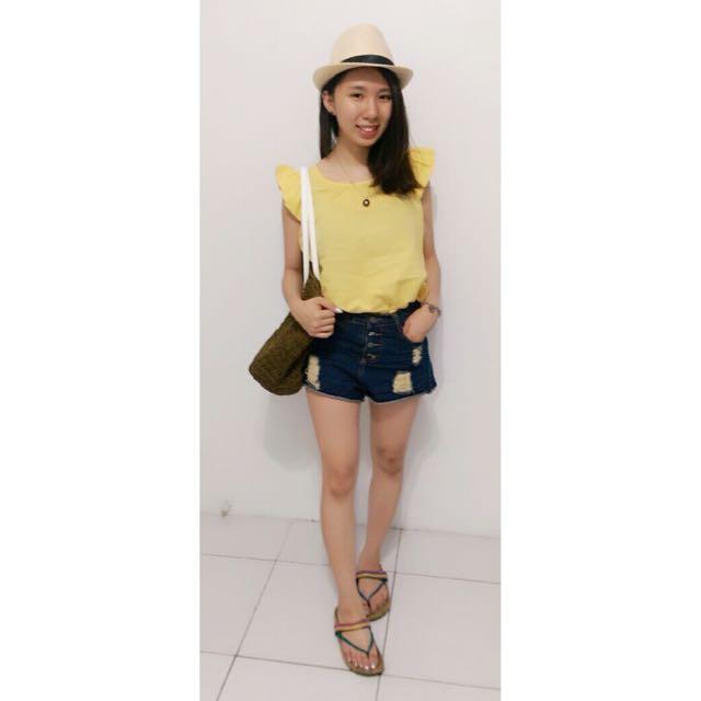 (夏季出清)黃色亞麻無袖上衣