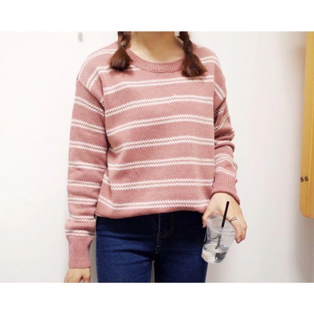 ✨條紋寬鬆圓領毛衣