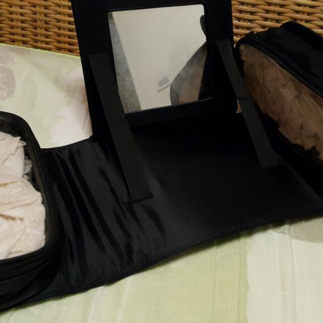 黑色尼龍附鏡折合化妝包