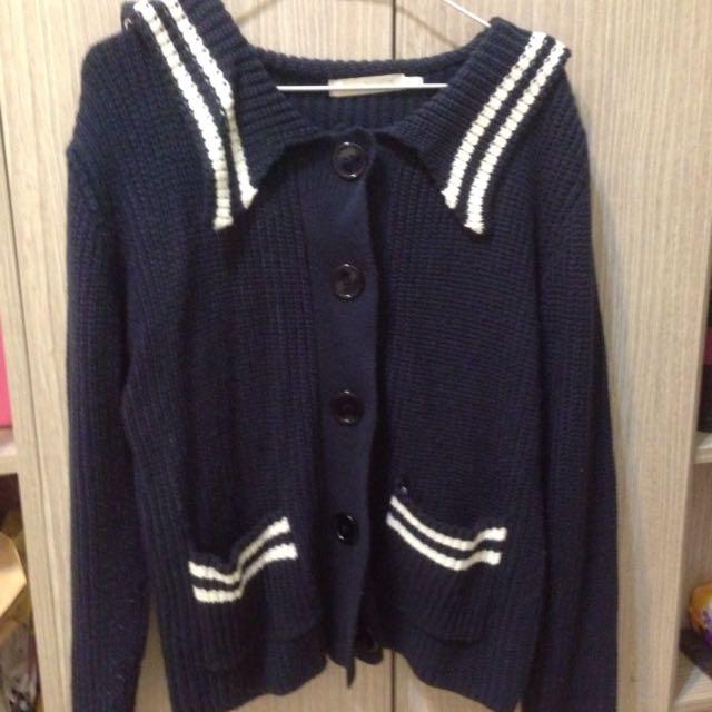 海軍水手領針織外套