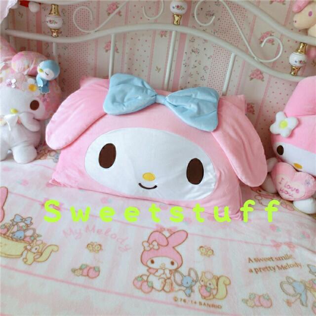 ●現貨+預購●♡日本~超萌美樂蒂粉嫩立體蝴蝶結枕頭套(不含枕心)♡