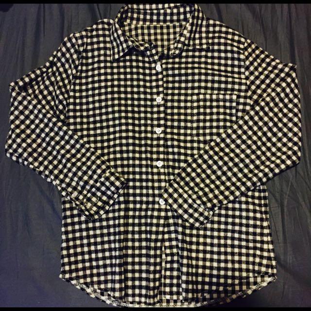 黑白格復古風襯衫