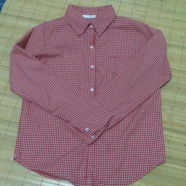 紅白 格子襯衫